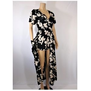 ANGIE Black with peach flowres Maxi Romper